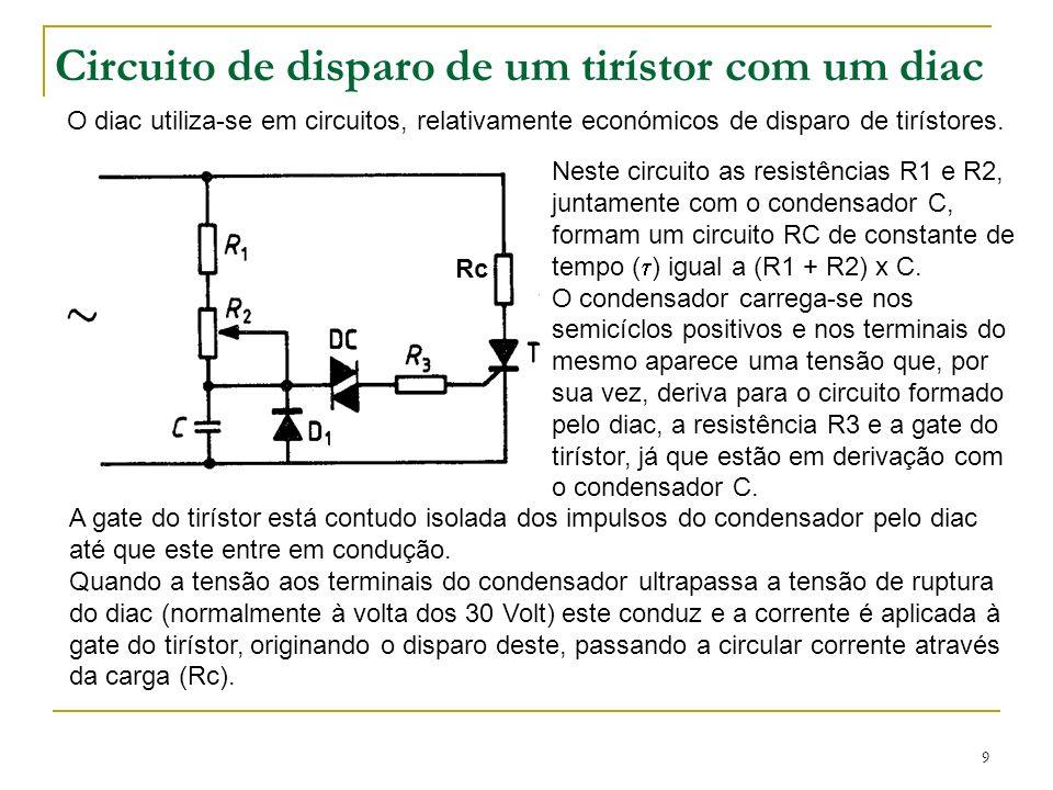 9 Circuito de disparo de um tirístor com um diac O diac utiliza-se em circuitos, relativamente económicos de disparo de tirístores. Neste circuito as