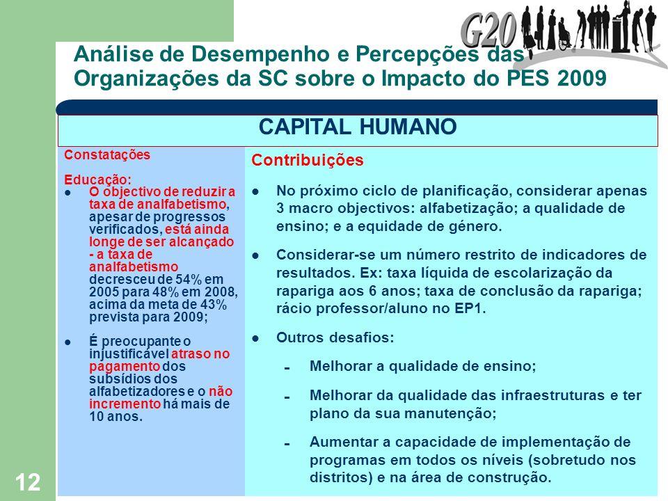 12 Análise de Desempenho e Percepções das Organizações da SC sobre o Impacto do PES 2009 Constatações Educação: O objectivo de reduzir a taxa de analf