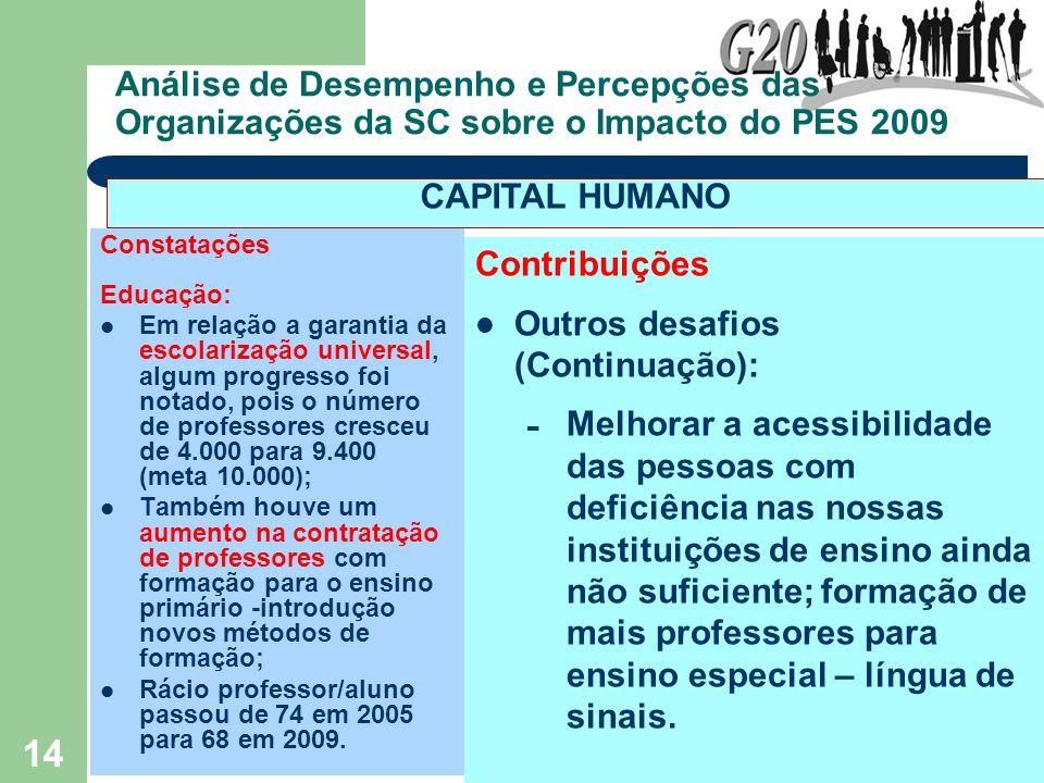 14 Análise de Desempenho e Percepções das Organizações da SC sobre o Impacto do PES 2009 Constatações Educação: Em relação a garantia da escolarização