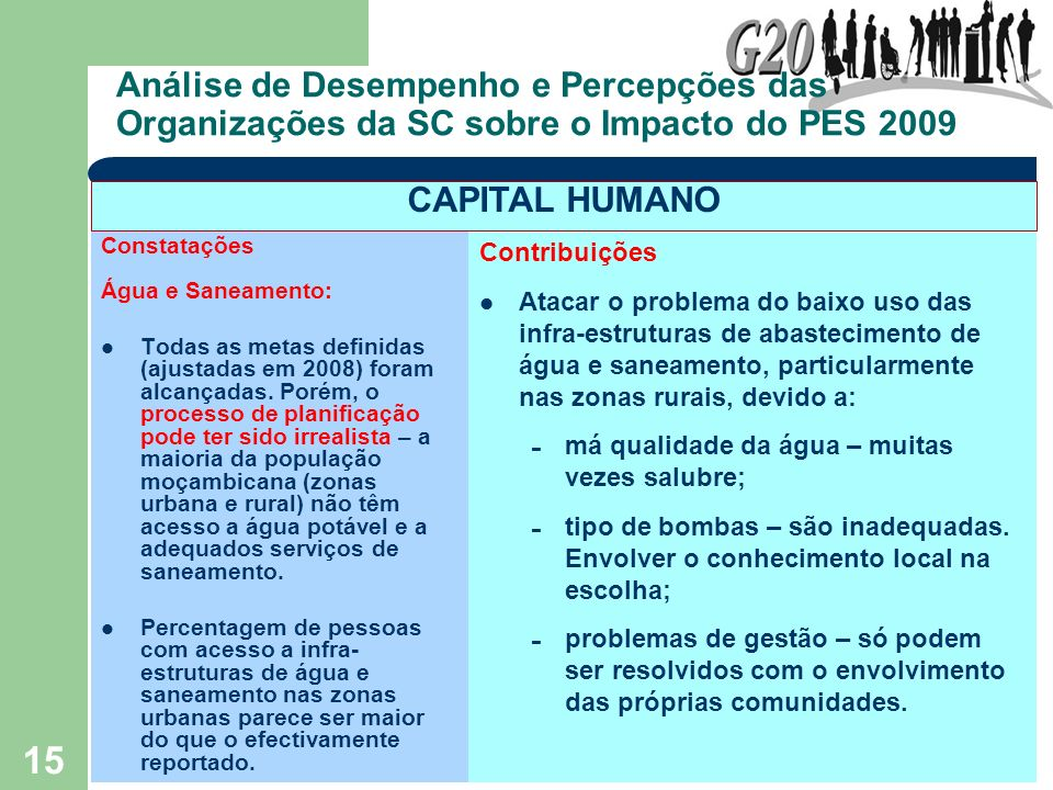 15 Análise de Desempenho e Percepções das Organizações da SC sobre o Impacto do PES 2009 Constatações Água e Saneamento: Todas as metas definidas (aju