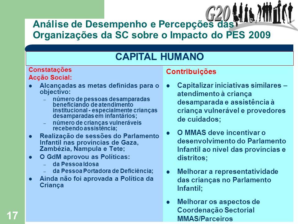 17 Análise de Desempenho e Percepções das Organizações da SC sobre o Impacto do PES 2009 Constatações Acção Social: Alcançadas as metas definidas para