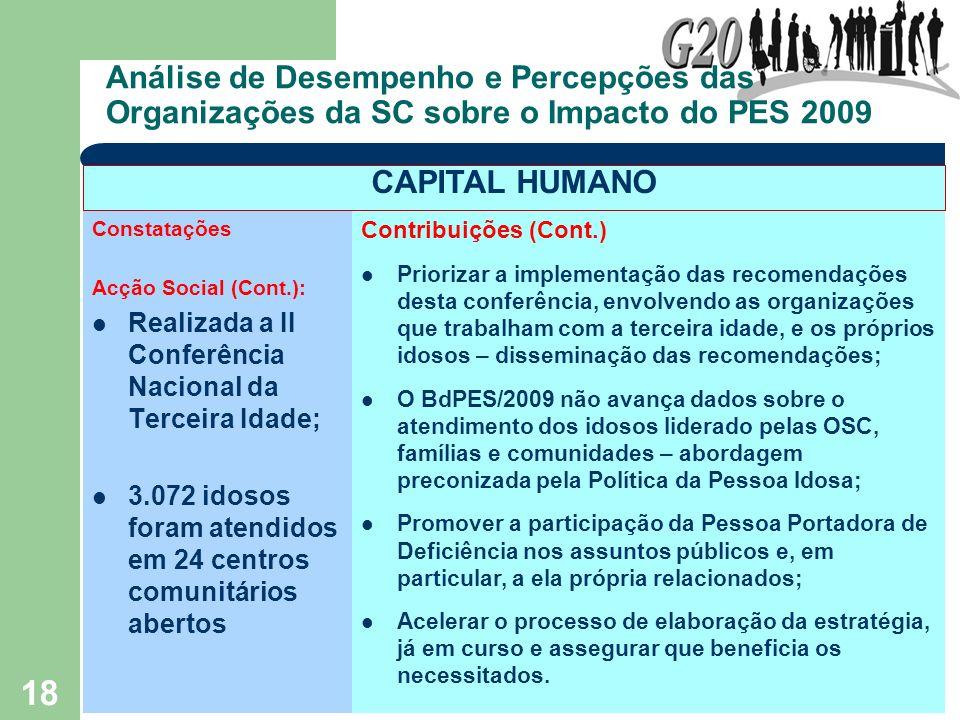 18 Análise de Desempenho e Percepções das Organizações da SC sobre o Impacto do PES 2009 Constatações Acção Social (Cont.): Realizada a II Conferência