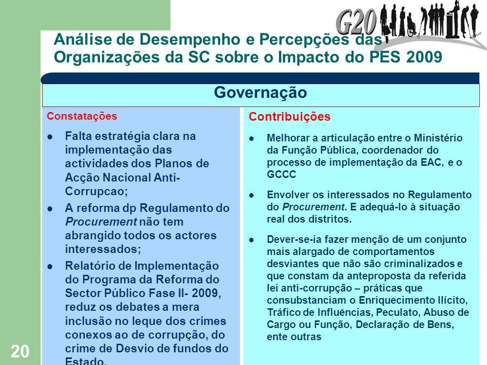20 Análise de Desempenho e Percepções das Organizações da SC sobre o Impacto do PES 2009 Constatações Falta estratégia clara na implementação das acti