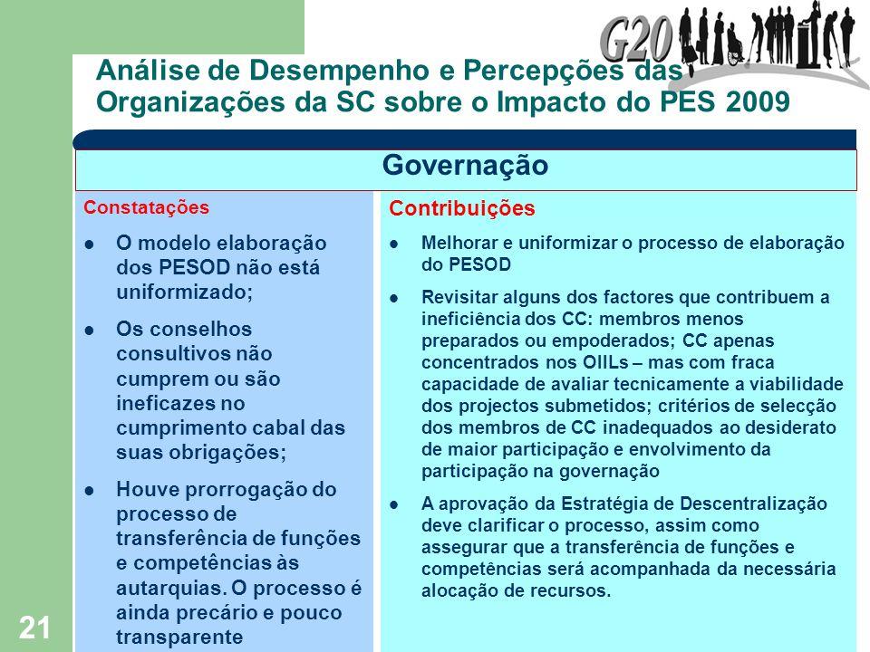 21 Análise de Desempenho e Percepções das Organizações da SC sobre o Impacto do PES 2009 Constatações O modelo elaboração dos PESOD não está uniformiz