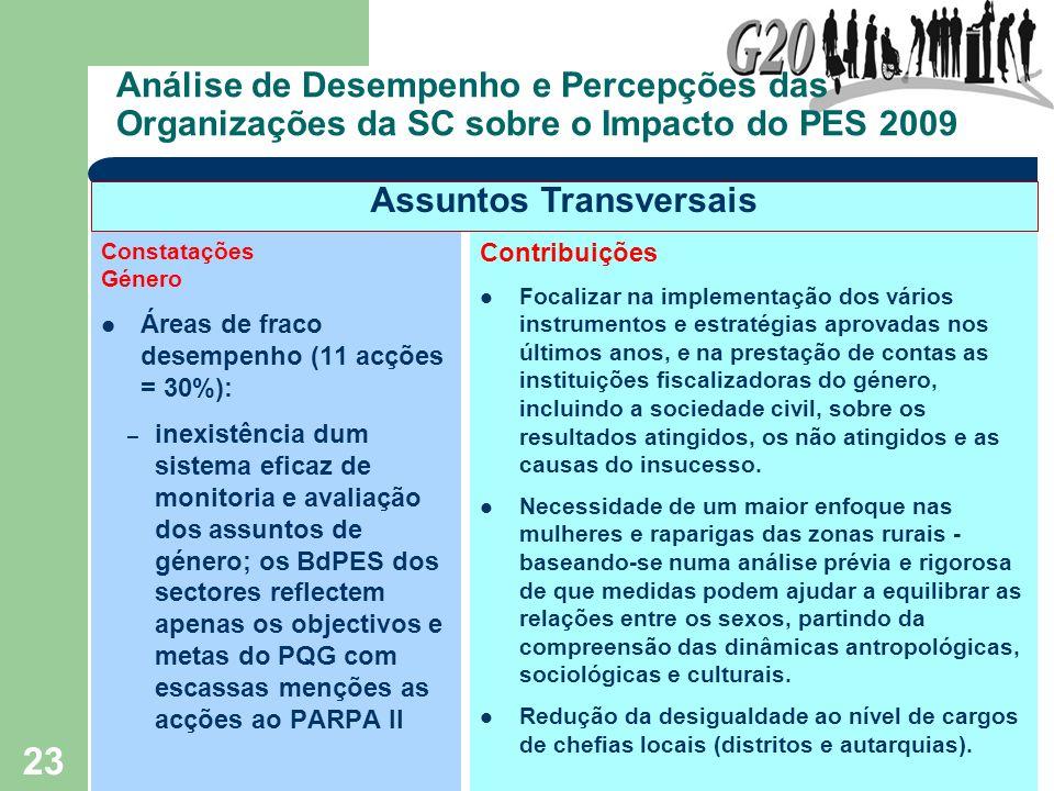 23 Análise de Desempenho e Percepções das Organizações da SC sobre o Impacto do PES 2009 Constatações Género Áreas de fraco desempenho (11 acções = 30