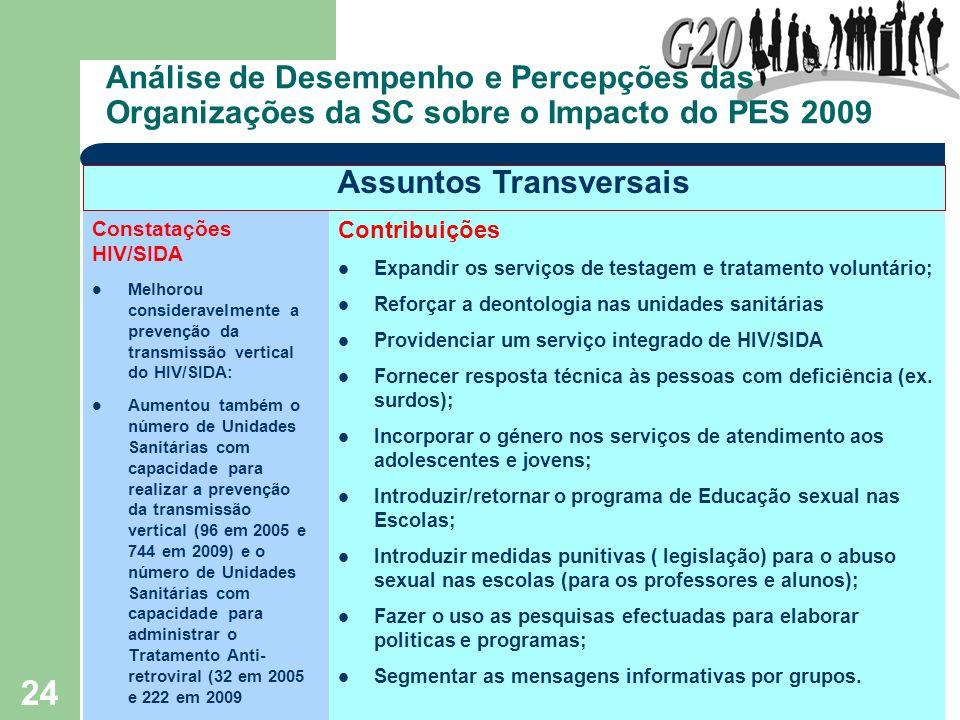24 Análise de Desempenho e Percepções das Organizações da SC sobre o Impacto do PES 2009 Constatações HIV/SIDA Melhorou consideravelmente a prevenção