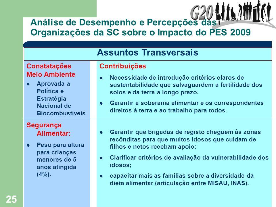25 Análise de Desempenho e Percepções das Organizações da SC sobre o Impacto do PES 2009 Constatações Meio Ambiente Aprovada a Política e Estratégia N