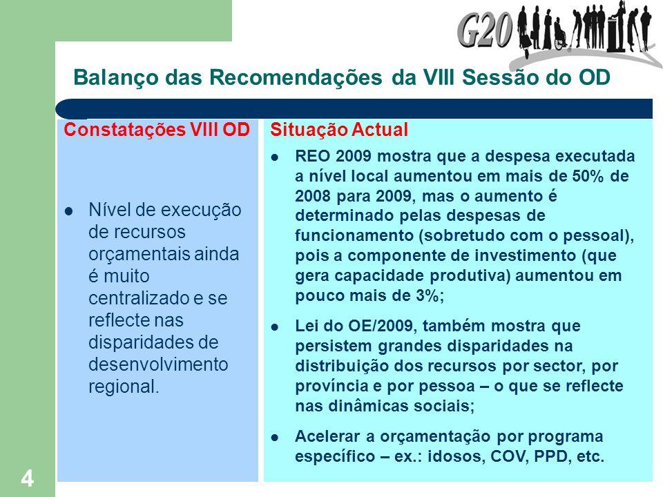 4 Balanço das Recomendações da VIII Sessão do OD Constatações VIII OD Nível de execução de recursos orçamentais ainda é muito centralizado e se reflec