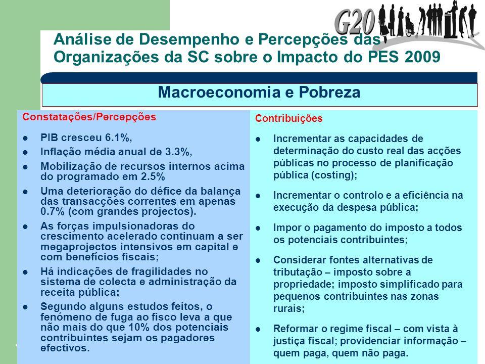 7 Análise de Desempenho e Percepções das Organizações da SC sobre o Impacto do PES 2009 Constatações/Percepções PIB cresceu 6.1%, Inflação média anual