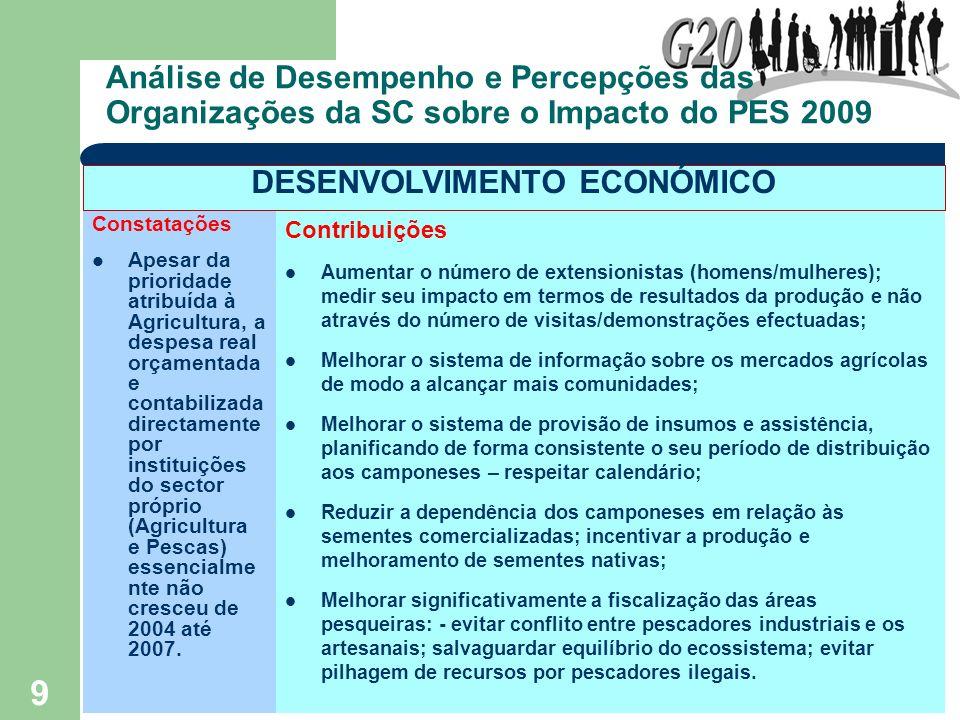 9 Análise de Desempenho e Percepções das Organizações da SC sobre o Impacto do PES 2009 Constatações Apesar da prioridade atribuída à Agricultura, a d