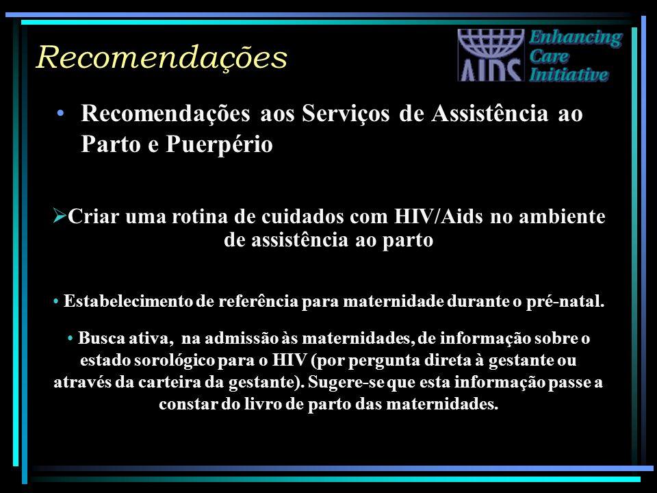 Recomendações Recomendações aos Serviços de Assistência ao Parto e Puerpério Criar uma rotina de cuidados com HIV/Aids no ambiente de assistência ao p