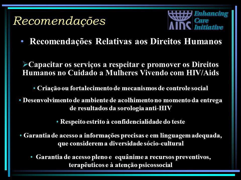 Recomendações Recomendações Relativas aos Direitos Humanos Capacitar os serviços a respeitar e promover os Direitos Humanos no Cuidado a Mulheres Vive