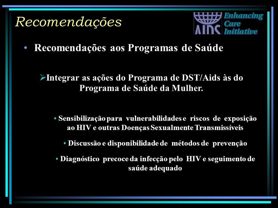 Recomendações Recomendações aos Programas de Saúde Integrar as ações do Programa de DST/Aids às do Programa de Saúde da Mulher. Sensibilização para vu