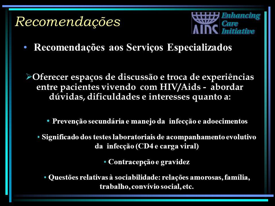 Recomendações Recomendações aos Serviços Especializados Oferecer espaços de discussão e troca de experiências entre pacientes vivendo com HIV/Aids - a