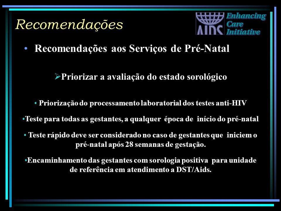 Recomendações Recomendações aos Serviços de Pré-Natal Priorizar a avaliação do estado sorológico Priorização do processamento laboratorial dos testes