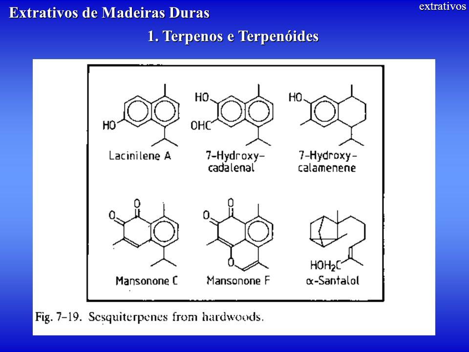 extrativos 1. Terpenos e Terpenóides Extrativos de Madeiras Duras