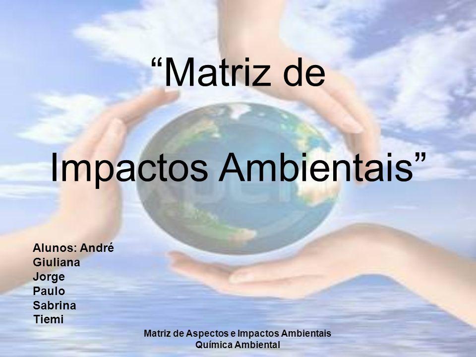 Matriz de Aspectos e Impactos Ambientais Química Ambiental Matriz de Impactos Ambientais Alunos: André Giuliana Jorge Paulo Sabrina Tiemi