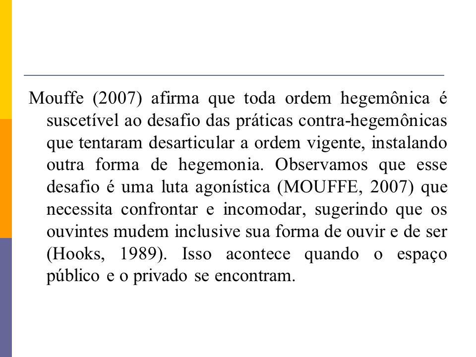 Mouffe (2007) afirma que toda ordem hegemônica é suscetível ao desafio das práticas contra-hegemônicas que tentaram desarticular a ordem vigente, inst