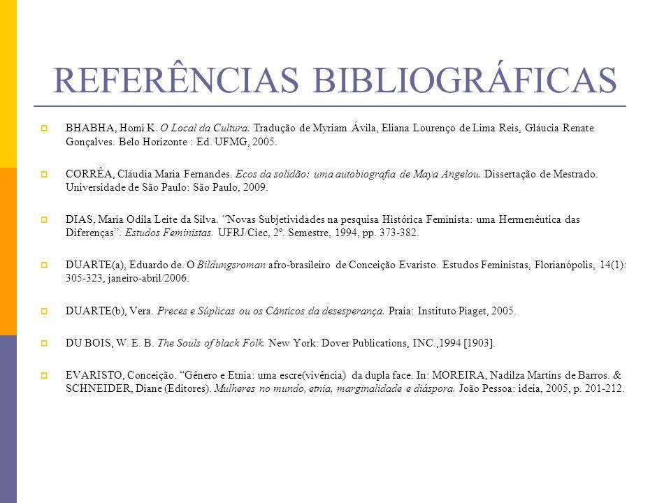 REFERÊNCIAS BIBLIOGRÁFICAS BHABHA, Homi K. O Local da Cultura. Tradução de Myriam Ávila, Eliana Lourenço de Lima Reis, Gláucia Renate Gonçalves. Belo