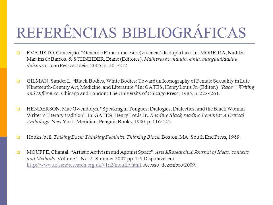 REFERÊNCIAS BIBLIOGRÁFICAS EVARISTO, Conceição. Gênero e Etnia: uma escre(vivência) da dupla face. In: MOREIRA, Nadilza Martins de Barros. & SCHNEIDER