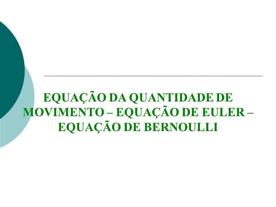 EQUAÇÃO DA QUANTIDADE DE MOVIMENTO – EQUAÇÃO DE EULER – EQUAÇÃO DE BERNOULLI