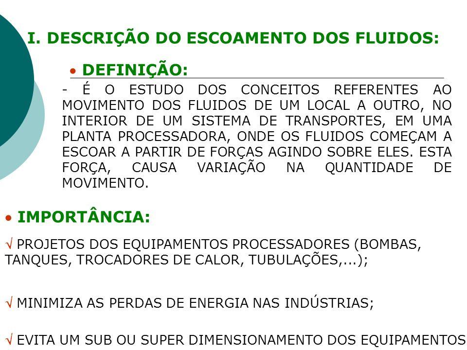 I. DESCRIÇÃO DO ESCOAMENTO DOS FLUIDOS: DEFINIÇÃO: IMPORTÂNCIA: PROJETOS DOS EQUIPAMENTOS PROCESSADORES (BOMBAS, TANQUES, TROCADORES DE CALOR, TUBULAÇ
