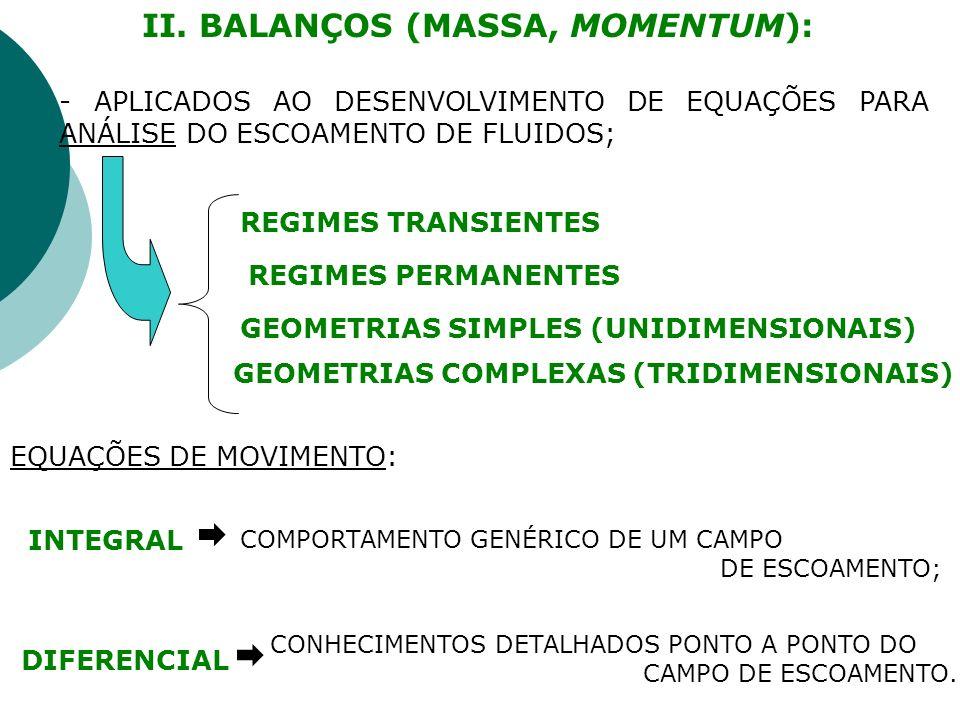 II. BALANÇOS (MASSA, MOMENTUM): REGIMES TRANSIENTES REGIMES PERMANENTES GEOMETRIAS SIMPLES (UNIDIMENSIONAIS) GEOMETRIAS COMPLEXAS (TRIDIMENSIONAIS) -