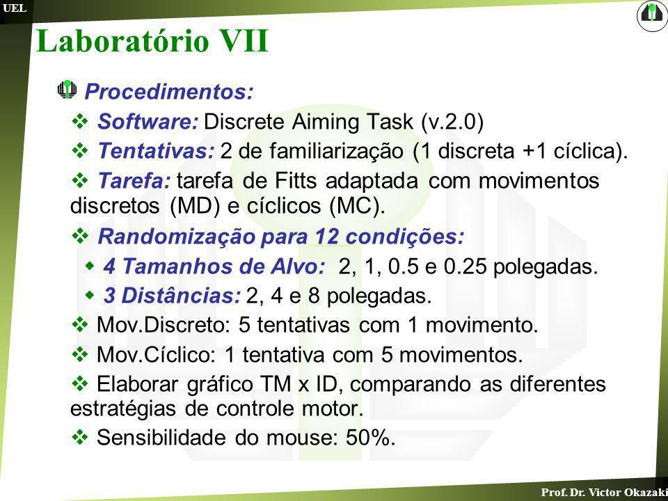 Prof. Dr. Victor Okazaki UEL Laboratório VII Procedimentos: Software: Discrete Aiming Task (v.2.0) Tentativas: 2 de familiarização (1 discreta +1 cícl