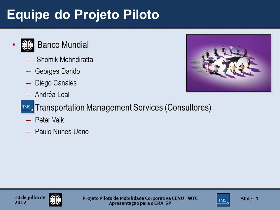 Equipe do Projeto Piloto Banco Mundial – Shomik Mehndiratta – Georges Darido – Diego Canales – Andréa Leal – Transportation Management Services (Consu