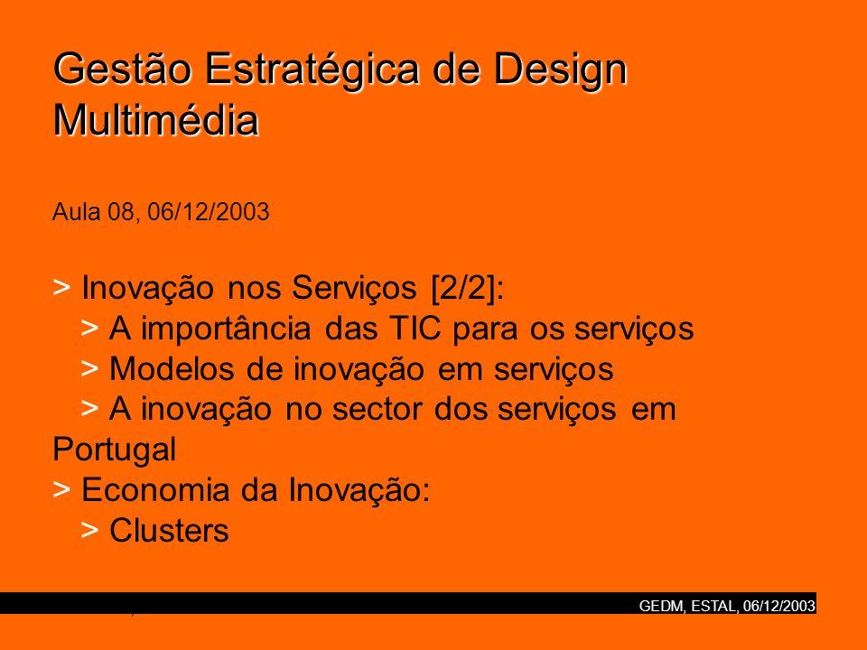 GEDM, ESTAL, 06/12/2003 Gestão Estratégica de Design Multimédia Gestão Estratégica de Design Multimédia Aula 08, 06/12/2003 > Inovação nos Serviços [2