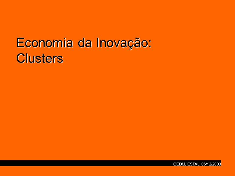 GEDM, ESTAL, 06/12/2003 Economia da Inovação: Clusters