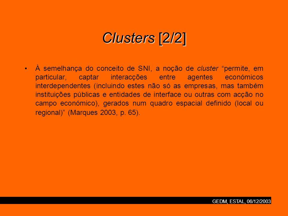 GEDM, ESTAL, 06/12/2003 Clusters [2/2] À semelhança do conceito de SNI, a noção de cluster permite, em particular, captar interacções entre agentes ec