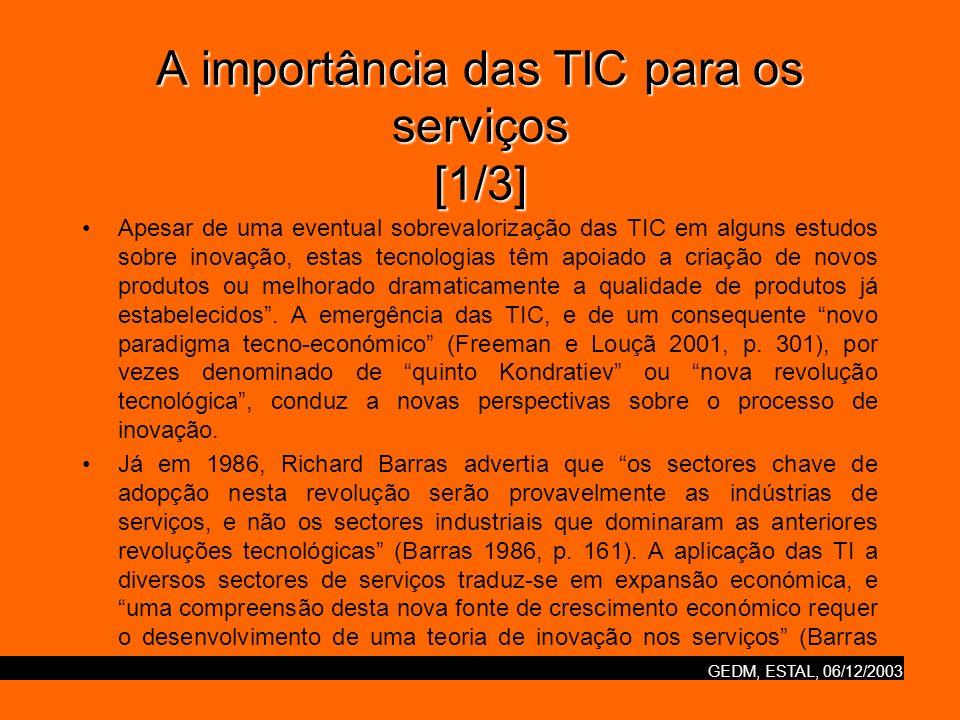 GEDM, ESTAL, 06/12/2003 A importância das TIC para os serviços [2/3] As TIC em geral, e a Internet em particular, têm tido um impacto em todos os aspectos da economia dos serviços.