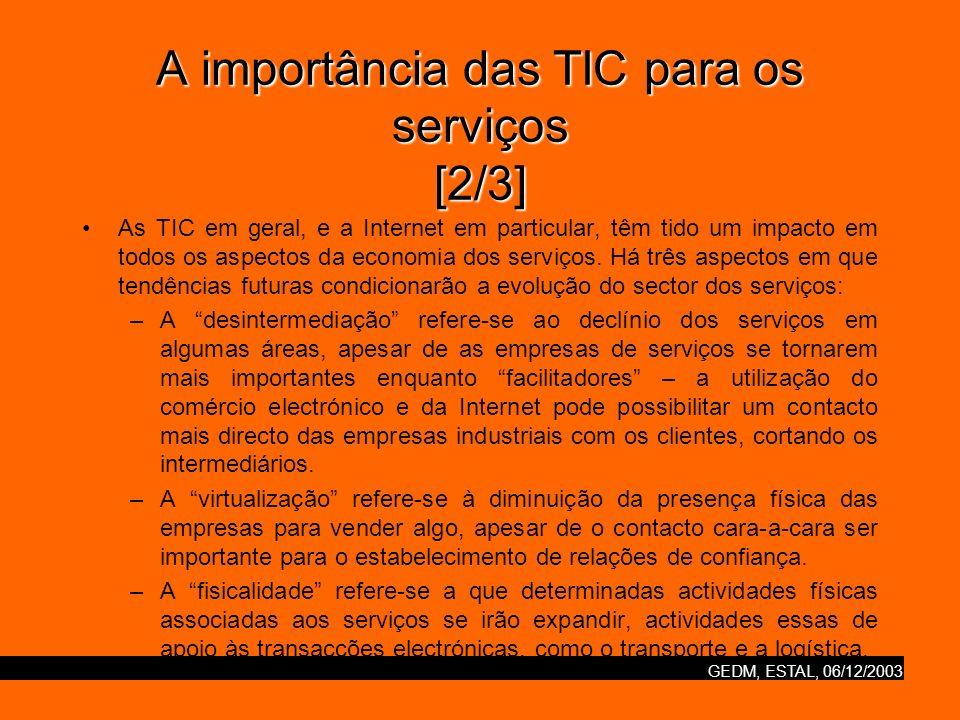 GEDM, ESTAL, 06/12/2003 A importância das TIC para os serviços [2/3] As TIC em geral, e a Internet em particular, têm tido um impacto em todos os aspe