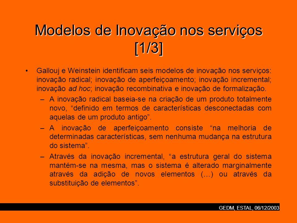 GEDM, ESTAL, 06/12/2003 Modelos de Inovação nos serviços [1/3] Gallouj e Weinstein identificam seis modelos de inovação nos serviços: inovação radical