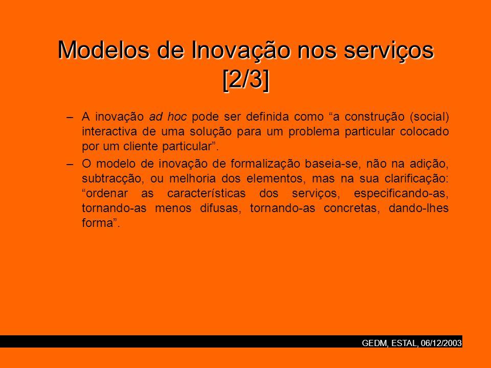 GEDM, ESTAL, 06/12/2003 Modelos de Inovação nos serviços [2/3] –A inovação ad hoc pode ser definida como a construção (social) interactiva de uma solu