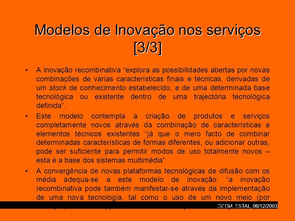 GEDM, ESTAL, 06/12/2003 Modelos de Inovação nos serviços [3/3] A inovação recombinativa explora as possibilidades abertas por novas combinações de vár