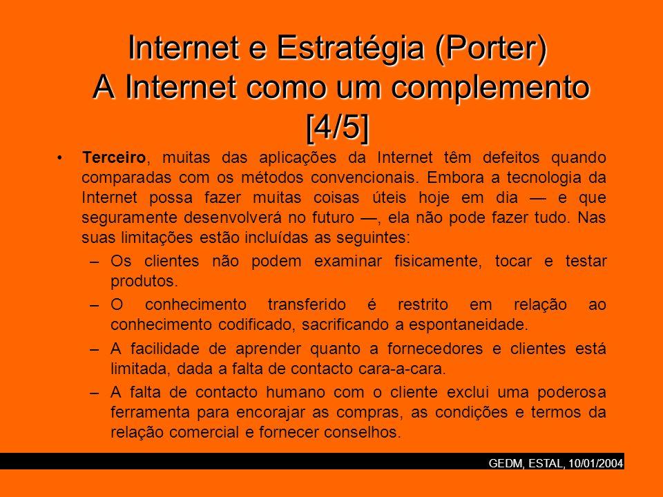 GEDM, ESTAL, 10/01/2004 Internet e Estratégia (Porter) A Internet como um complemento [4/5] Terceiro, muitas das aplicações da Internet têm defeitos quando comparadas com os métodos convencionais.