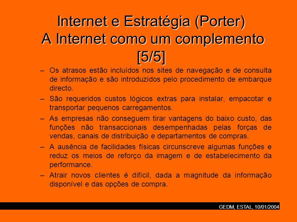 GEDM, ESTAL, 10/01/2004 Internet e Estratégia (Porter) Nova / velha economia [1/2] As dotcoms devem prosseguir as suas próprias estratégias diferenciadas, em vez de rivalizar com uns e outros ou com o posicionamento das empresas estabelecidas.