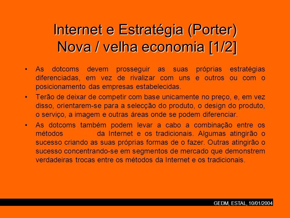 GEDM, ESTAL, 10/01/2004 Internet e Estratégia (Porter) Nova / velha economia [2/2] Quando vista com esta clareza, a Nova Economia surge menos como uma nova economia que como uma velha economia que teve acesso a uma nova tecnologia.