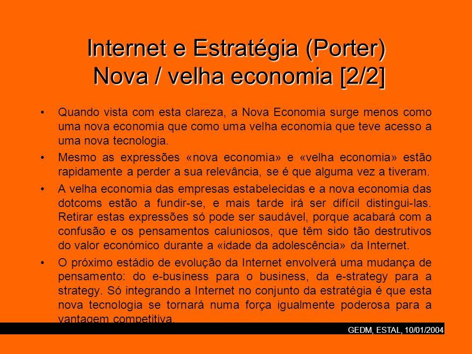 GEDM, ESTAL, 10/01/2004 Internet e Estratégia (Porter) Imperativos estratégicos [1/2] As dotcoms bem sucedidas irão partilhar as seguintes características: –Fortes capacidades de tecnologia da Internet.