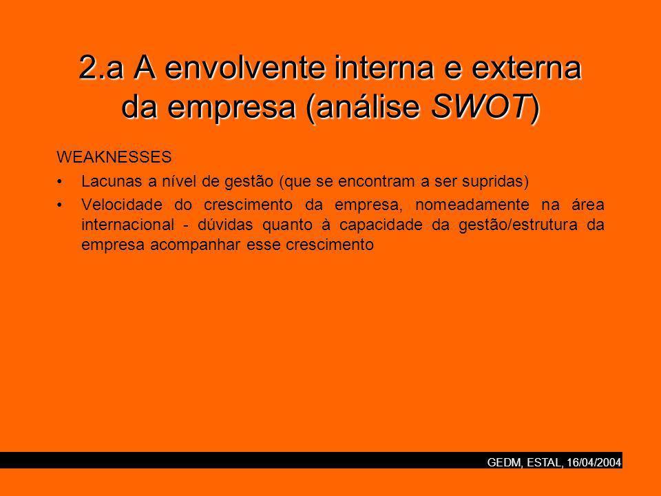 GEDM, ESTAL, 16/04/2004 2.a A envolvente interna e externa da empresa (análise SWOT) WEAKNESSES Lacunas a nível de gestão (que se encontram a ser supridas) Velocidade do crescimento da empresa, nomeadamente na área internacional - dúvidas quanto à capacidade da gestão/estrutura da empresa acompanhar esse crescimento