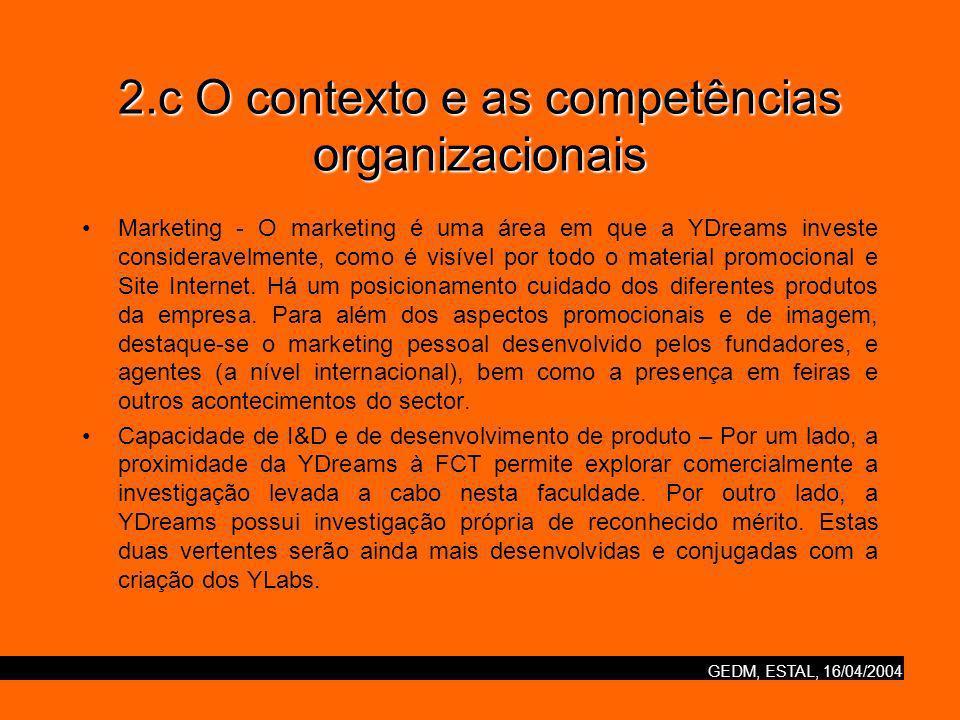 GEDM, ESTAL, 16/04/2004 2.c O contexto e as competências organizacionais Marketing - O marketing é uma área em que a YDreams investe consideravelmente, como é visível por todo o material promocional e Site Internet.
