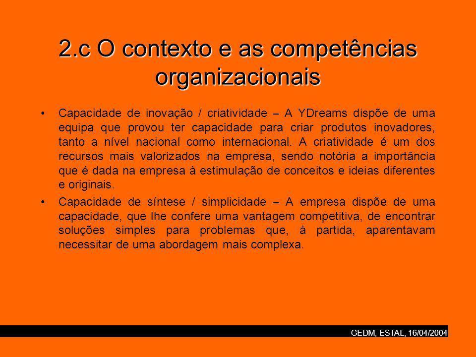 GEDM, ESTAL, 16/04/2004 2.c O contexto e as competências organizacionais Capacidade de inovação / criatividade – A YDreams dispõe de uma equipa que provou ter capacidade para criar produtos inovadores, tanto a nível nacional como internacional.