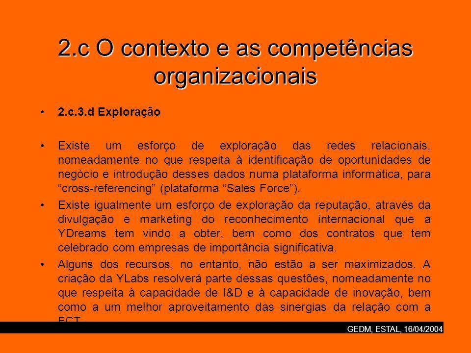GEDM, ESTAL, 16/04/2004 2.c O contexto e as competências organizacionais 2.c.3.d Exploração Existe um esforço de exploração das redes relacionais, nomeadamente no que respeita à identificação de oportunidades de negócio e introdução desses dados numa plataforma informática, para cross-referencing (plataforma Sales Force).