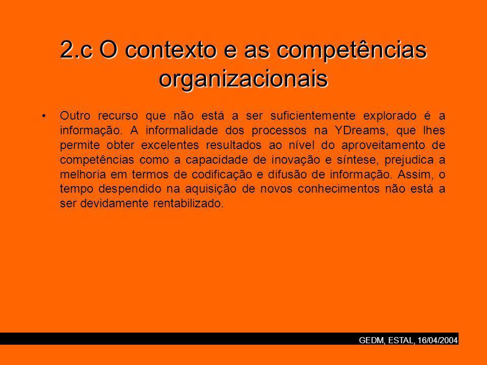 GEDM, ESTAL, 16/04/2004 2.c O contexto e as competências organizacionais Outro recurso que não está a ser suficientemente explorado é a informação.