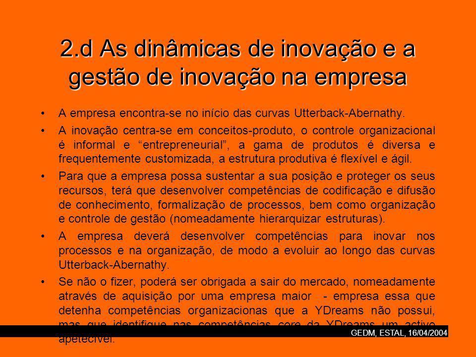 GEDM, ESTAL, 16/04/2004 2.d As dinâmicas de inovação e a gestão de inovação na empresa A empresa encontra-se no início das curvas Utterback-Abernathy.