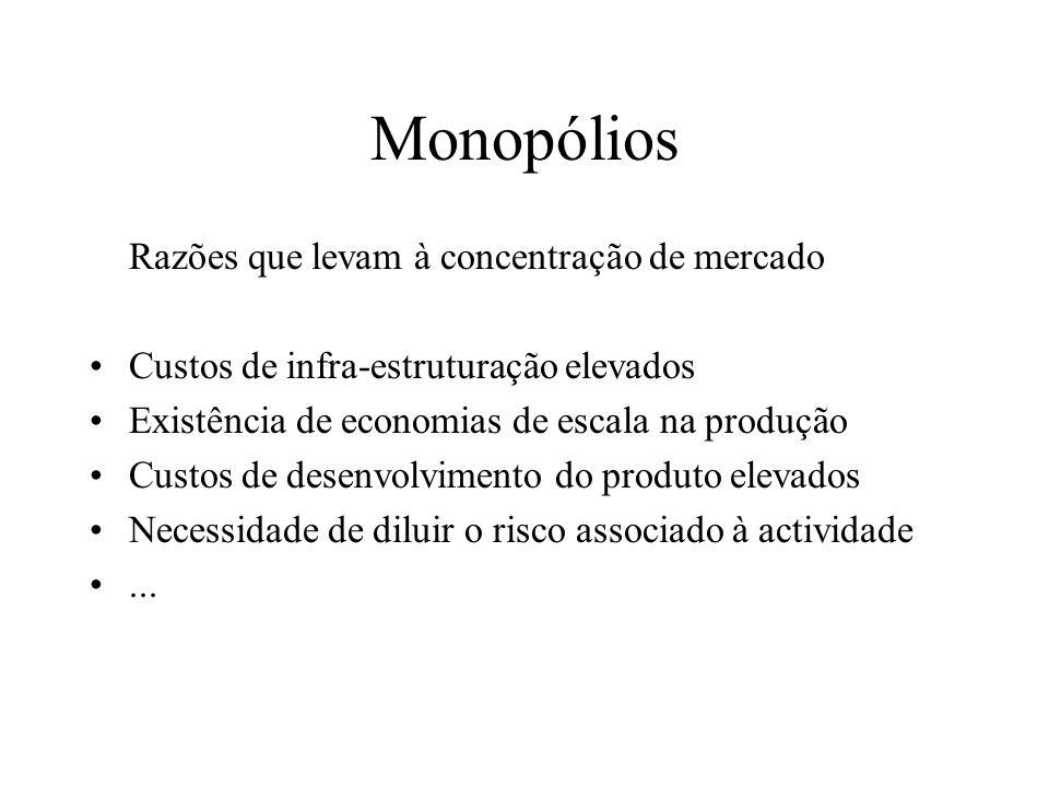 Monopólios Um só vendedor que controla a quantidade produzida e o seu preço Mas também há monopólios naturais