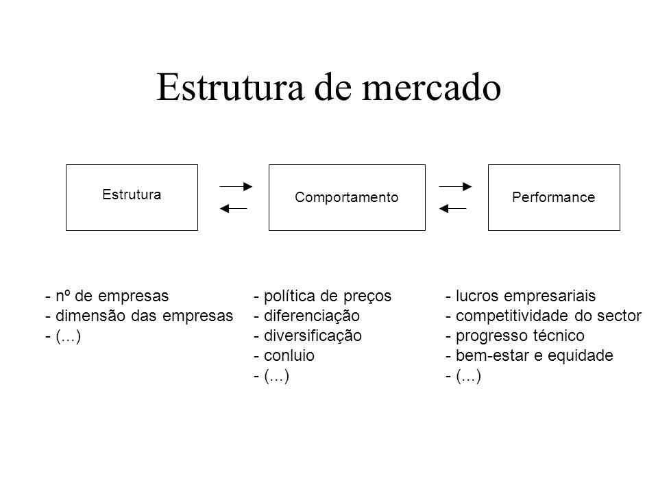Monopólios Razões que levam à concentração de mercado Custos de infra-estruturação elevados Existência de economias de escala na produção Custos de de
