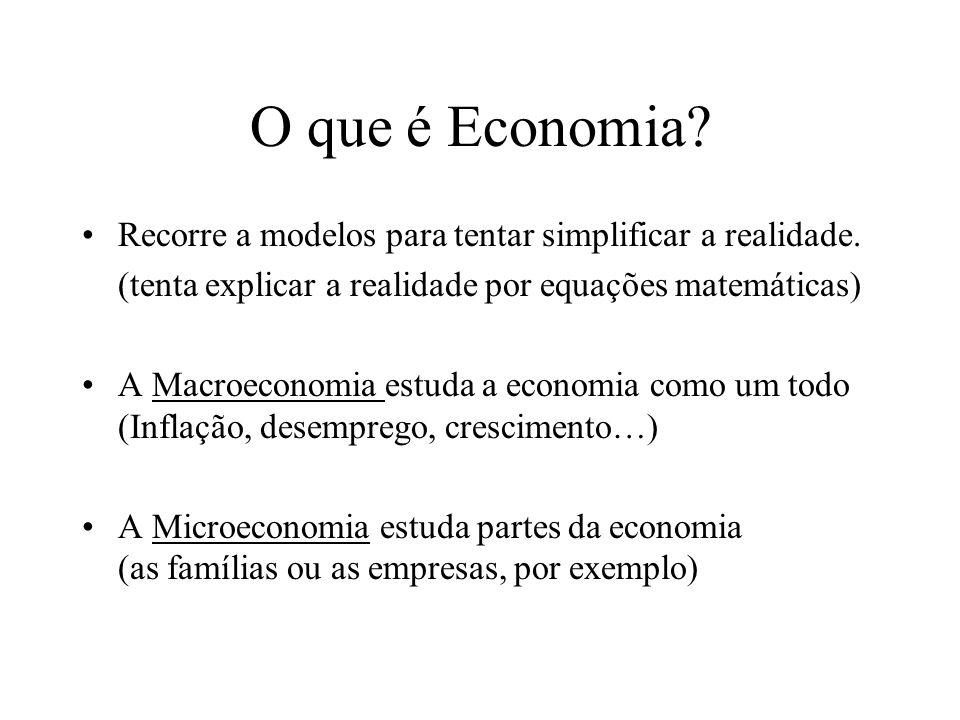 O que é Economia.Recorre a modelos para tentar simplificar a realidade.